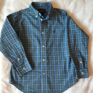 Ralph Lauren blue plaid cotton long sleeve shirt